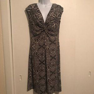 Blu Sage Black and White Knotted Front Dress